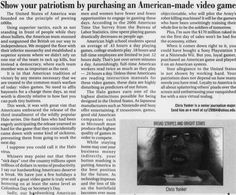 """Post (Athens, Ohio) September 28, 2007. Games and Animation. """"Show your patriotism by purchasing an American-made video game."""" :: Ohio University Archives"""