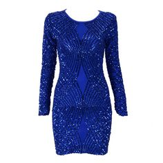 2017 New Summer Women Party Luxury Dress Mesh Royal Blue Sequins O-Neck Long Sleeve Sexy Celebrity Party Dress Wholesale Vestido Sexy Outfits, Bodycon Outfits, Bodycon Dress Parties, Sexy Dresses, Fashion Dresses, Party Outfits, Mini Dresses, Trendy Dresses, Ball Dresses