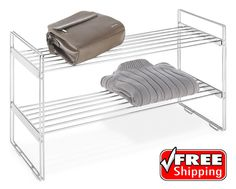Stackable Closet Shelves Storage Organizer Rack Sweater Shoe 2 Tier Shelving New #Whitmor