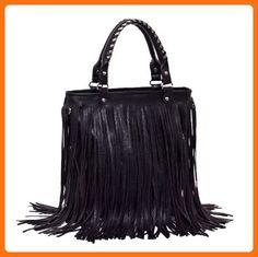 2012-2013 Woman lady or girl Black Leather Punk Tassel Fringe Handbag/ Shoulder Handle /Satchel /Purse/ Hobo Tote bags - Satchels (*Amazon Partner-Link)