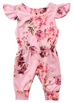 c0dbda723f1c Floral Ruffled Jumpsuit. Baby Girl JumpsuitJumpsuit For KidsKids Jumpsuits Outfits ...