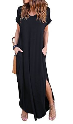 28abab63f8 GRECERELLE Women s Casual Loose Pocket Long Dress Short Sleeve Split Maxi  Dresses