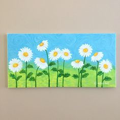 Easy Flower Painting, Acrylic Painting Flowers, Daisy Painting, Summer Painting, Autumn Painting, Kids Canvas Art, Simple Canvas Paintings, Easy Canvas Painting, Canvas Ideas Kids