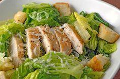 caesar salad with grilled chicken. drizzle your light dressing, limit your croutons, and just a small shaving of cheese.