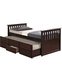 Broyhill Kids Marco Island Captain's Bed with Trundle Bed and Drawers, Espresso ❤ Canwood DROP SHIP