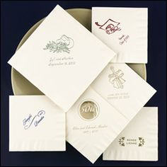 WeddingDepot.com ~ Napkins - Personalized - Ecru (Ivory) ~ Includes 50 supersoft napkins. Easy step-by-step instructions.  Great for your wedding, rehearsal dinner, engagement party, bridal shower, or event.