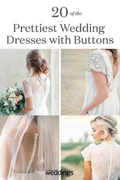 20 of the Prettiest Wedding Dresses with Buttons Wedding Dress Types, Pretty Wedding Dresses, Classic Wedding Dress, Long Sleeve Wedding, Wedding Dress Sleeves, Sparkle Wedding, Chic Wedding, Traditional Wedding Dresses, Allure Bridal