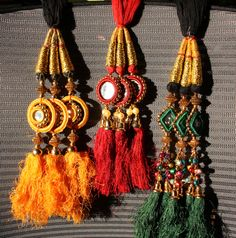 Indian paranda - hair tassels; you plait them into your hair to thicken your braid and lengthen it.