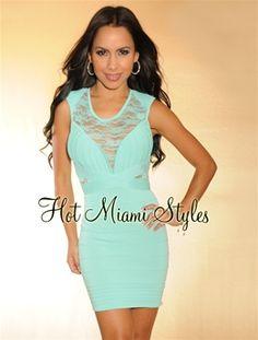 992c0dfb778 Mint Green Romantic Lace Accent Bandage Dress