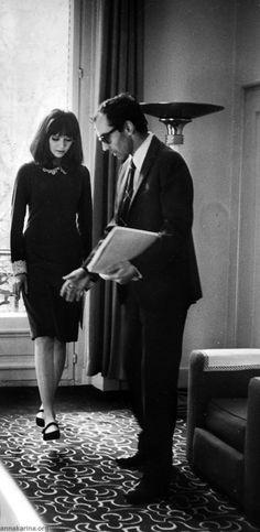 Anna Karina with Jean-Luc Godard on the set of Alphaville.