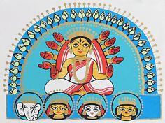 Goddess Durga with Her Children - Folk Art Paintings (Madhubani Folk Art on Paper - Unframed) Durga Maa Paintings, Durga Painting, Indian Art Paintings, Madhubani Art, Madhubani Painting, Goddess Art, Durga Goddess, Zentangle, Jamini Roy