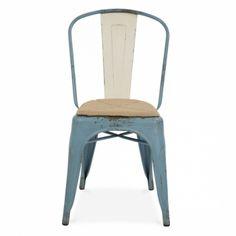 Xavier Pauchard Realistischer Blau Vintage Tolix Style Stuhl - mit Sitzkissen - Xavier Pauchard von Cult Furniture UK