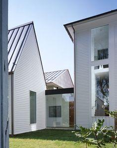 white modern farmhouse exterior | metal peaked roof