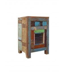 mesita de noche - madera reciclada