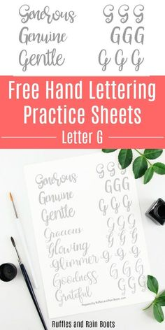 Free Letter G Hand Lettering Practice Sheets These free letter G hand lettering practice sheets will have your gorgeous, generous, and goodness on point in no time. Click through to grab the free sheets. Hand Lettering For Beginners, Hand Lettering Practice, Calligraphy Practice, Brush Lettering, Lettering Ideas, Modern Calligraphy Tutorial, Hand Lettering Tutorial, Letter Practice Sheets, Easy Homemade Gifts