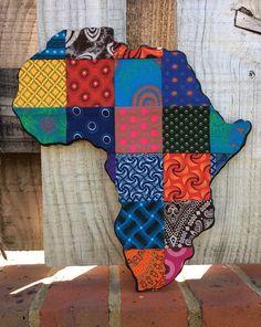 cotton-sox Africa Map, quilt-styled patchwork original Shweshwe textil