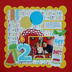 Cute b-day layout Birthday Scrapbook Layouts, Cruise Scrapbook, Scrapbook Sketches, Scrapbook Page Layouts, Baby Scrapbook, Scrapbook Paper Crafts, Scrapbook Albums, Scrapbook Cards, Scrapbooking Ideas