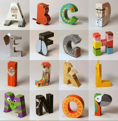 paper toy alphabet - wonderful idea AND design AND it's a free download to print/construct yourself!