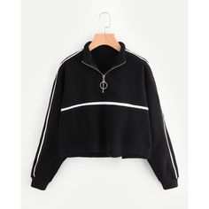 Zip Front Tape Detail Crop Sweatshirt ❤ liked on Polyvore featuring tops, hoodies, sweatshirts, zipper front top, zip front sweatshirt, cut-out crop tops, zip front top and cropped sweatshirts
