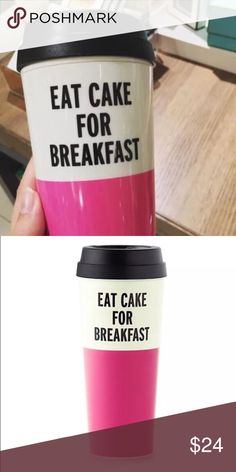 Kate Spade Eat Cake for Breakfast whether you fancy hot lattes or iced hibiscus tea, take it to go in this thermal mug, accented with a bold bon mot. the bpa-, phthalate-, and lead-free interior means you can sip and savor safely.  acrylic thermal mug with plastic lid insulated lid has open and close slider holds 16oz kate spade Accessories
