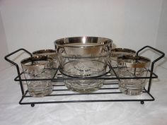 Barware Mid-Century Mad Men Bar Set Ice Bucket 4 glasses wrought iron stand Free Shipping by LeapOfFaithVintage