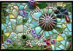"""""""Hatch"""" 10"""" x 15"""", pottery shards, by Pamela Goode"""