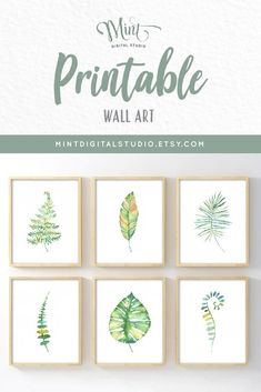 Simplicity speaks volumes with this beautiful minimalist-inspired set of botanical printable wall art. Delicate watercolor leaf images add a fresh, clean accent to your decor. Bring the beauty and symmetry found in nature into your space with this collection of exquisite artwork. This eye-catching set of six features instant downloads of our Botanical theme artwork. Tropical leaves, ferns, and feather prints are featured in beautiful hues of green with soft accents of yellow and orange. Leaf Wall Art, Leaf Art, Botanical Decor, Botanical Prints, Leaf Prints, Wall Art Prints, Hawaiian Decor, Leaf Images, Boho Nursery