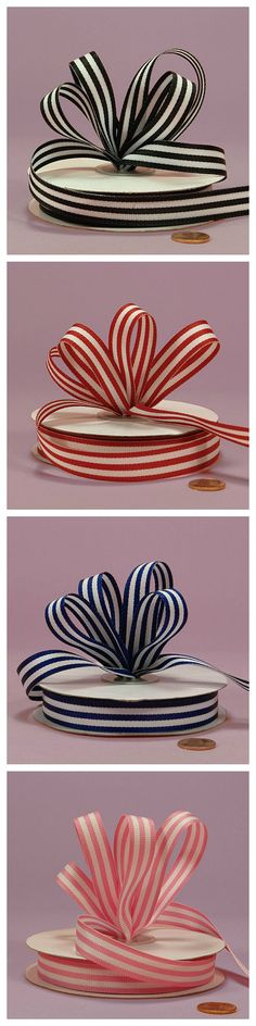 "Jenna Striped Grosgrain Ribbon - 5/8"" -1-1/2"" Colored Grosgrain Ribbon for Making Hair Bows, Bows for Presents, and Other Fun Crafts. #stripedribbon"