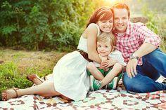 lovely family on quilt