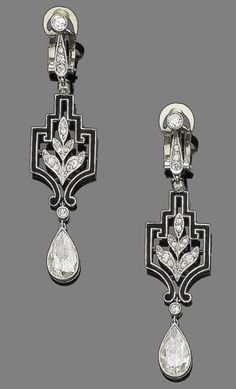 Art Deco diamond and enamel pendant earrings, ca 1925.