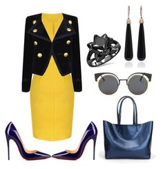 """Yellow dress"" by natalia-souza-ramos on Polyvore featuring Yves Saint Laurent, Christian Louboutin and SUSAN FOSTER"