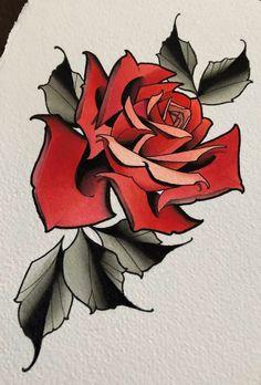 Tattoo Sketches, Tattoo Drawings, Body Art Tattoos, Sleeve Tattoos, Tattoos Skull, Neo Traditional Roses, Traditional Rose Tattoos, Flower Tattoo Designs, Flower Tattoos