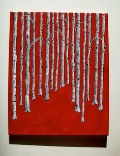 """Bright Red Birch Forest, 2014 Acrylic on canvas board 16"""" x 20""""  © copyright Mike Kraus  What's black and white and red all over? A birch forest of course. Birch trees have always been a meditative source for me. Growing up, there was one outside my window that I would look at while daydreaming. And, when I needed to get away from the world I went to a grove of Birch trees to find refuge. I've always found the unique and nearly useless white tree interesting."""