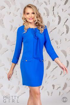 Rochie office albastră cu jabou I Need You Love, Your Girl, Pretty Girls, Girl Fashion, Cold Shoulder Dress, Spring Summer, Satin, Floral, Blue