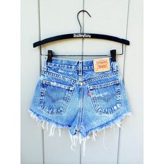 ALL SIZES Women Levi High Waisted Denim Shorts Vinatge small medium... ❤ liked on Polyvore featuring shorts, highwaist shorts, denim short shorts, vintage jean shorts, high waisted shorts and high rise shorts