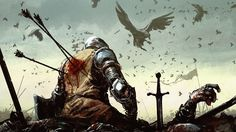 Dying Warrior. They are coming to eat the fallen.
