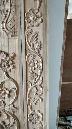 Extraordinary Wood Carving Designs For Door Frames Gallery - Furniture Wood Carving Faces, Wood Carving Designs, Wood Carving Patterns, Wood Carving Art, Wood Patterns, Wood Carvings, Wood Art, Front Door Design Wood, Wooden Door Design