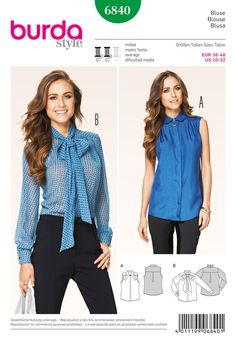 smart, feminine blouses, nicely to mix and match. sleeveless with collar or with long sleeves and bow-tie. both with concealed buttonhole bands and four short-stitched tiny front folds, caught by the shoulder yokes