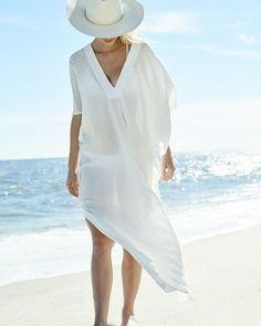 Beach Cover up Sexy V-neck Chiffon Swimwear Ladies Kaftan Beach Tunic Robe De Plage Bathing Suit Coverups Saida de Praia White Beach Cover Up, Beach Cover Ups, Bathing Suit Cover Up, Swimsuit Cover, White Kaftan, Beach Kaftan, Mode Abaya, Beach Dresses, Dress Beach