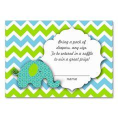 Little blue green elephant Diaper Raffle Ticket Business Card Templates