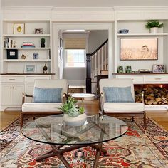 Before & After Living Room: — Trim Design Co. Boutique Interior, A Boutique, Narrow Living Room, Living Spaces, Woven Shades, Living Room Decor Inspiration, New England Homes, Interior Design Studio, Decorating Blogs