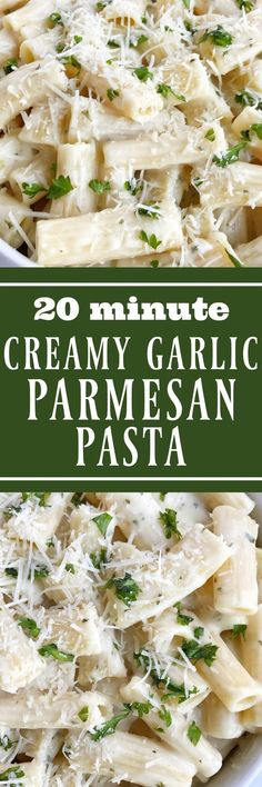 You can have this creamy garlic pasta on the dinner table in just 20 minutes! A quick & easy weeknight dinner recipe that everyone will love   www.togetherasfamily.com #dinnerrecipes #pastarecipes #meatlessrecipes #pastarecipes