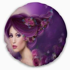 Design Art Bring contemporary abstraction to your home with this circle metal wall art. This modern 'Woman with Purple Hair' Graphic Art Print on Metal artwork makes it the focal point of any room or office. Size: H x W x D Abstract Portrait, Portrait Art, Portraits, Cartoon Girl Images, Colored Pencil Techniques, Circle Metal Wall Art, Fantasy Hair, Fantasy Women, Metal Artwork