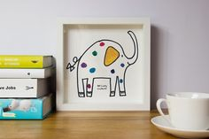 Elephant funny Framed nursery art Nursery pictures by illustation