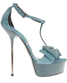 Gianmarco Lorenzi blue Bow Platform Sandals with Stiletto High Heels