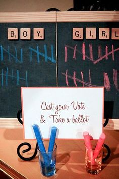 gender reveal party- cute idea!