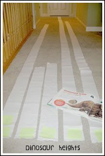 Dinosaur theme: measuring how tall actual dinosaurs were using toilet paper. Targeting big/bigger/biggest, big vs. small, and comparisons. Repinned by Columbus Speech & Hearing Center. For more ideas like this visit www.pinterest.com/ColumbusSpeech