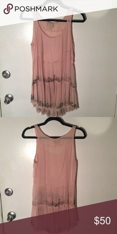 Anthropologie Casmilla Cami by Vanessa Virginia 100% polyester, sheer, some beads have fallen off over time, but not noticeable when worn Anthropologie Tops Tank Tops