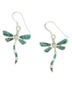 @Overstock - Dangling dragonfly earrings feature a graceful design  Jewelry is crafted of fine sterling silver  Smooth turquoise and lustrous opal inlay adds an exotic appeal to these lovely dragonfly earringshttp://www.overstock.com/Jewelry-Watches/Sterling-Silver-Turquoise-Opal-Dragonfly-Earrings/2971745/product.html?CID=214117 $27.89