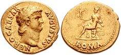 Gold coin of Emperor Nero. He reigned in 54-68 AD.